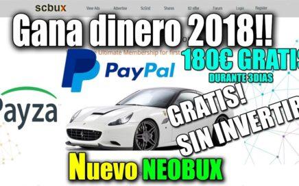 SCBUX: GANA DINERO POR INTERNET TOTALMENTE GRATIS 2018!!! NUEVO NEOBUX + 180€