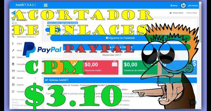 Adsnet S.A.C | CPM $3.10 | ENLACES CORTOS - GRANDES GANANCIAS | Ganar Dinero Rápido |