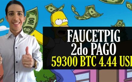 Faucetpig 2do Pago [59300 BTC 4.44$ USD]  Formas de Conseguir Referidos 50% Gana Bitcoin Gratis.