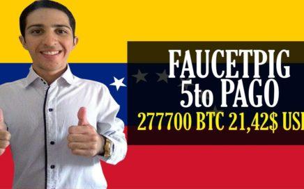 FAUCETPIG 5to PAGO [277700 BTC 21,42$ USD] Bitcoin Faucet Satoshis cada 5 minutos