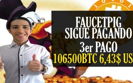 Faucetpig Sigue Pagando 3er Pago Recibido [106500 BTC 6,43$ USD] Bitcoin Faucet