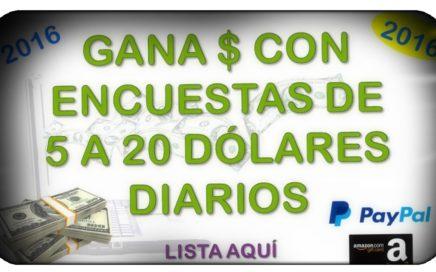 Ganar dinero para paypal con encuestas pagadas 2016 5 a 20 USD Diario