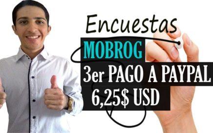 MOBROG 3er PAGO por Paypal [6,25$ USD] Dinero Gratis desde casa con Encuestas Remuneradas
