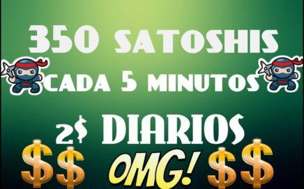 Gana 350 SATOSHIS cada 5 MIn| Gana $2 al día con esta Pagina| COMPROBADO|Que esperas..?