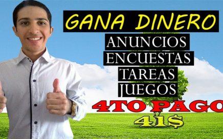 Gana Dinero con Anuncios, Tareas, Encuestas, Juegos [4to Pago 41$ USD] Pagando desde el 2008.