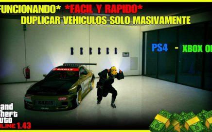 *NUEVO TRUCO* DUPLICAR COCHES MASIVAMENTE FACIL Y RAPIDO GTA V ONLINE 1.43  PS4 - XBOX ONE