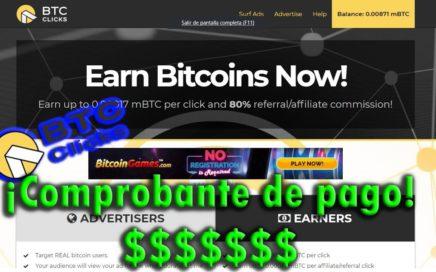 ¿BTCclick Paga? ¡¡COMPROBANTE DE PAGO EN BTC CLICK!! Gana dinero seguro.