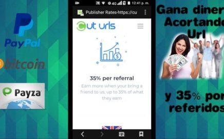 CUT URLS Gana dinero acortando Urls y 35% de las comisiones por referidos