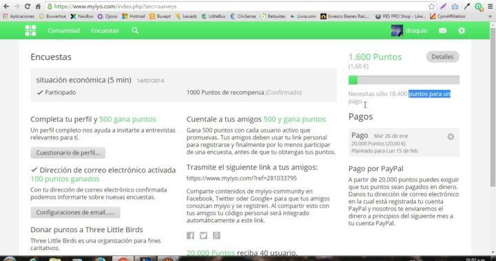 Ganar dinero con Myiyo | Pago de 20€ solicitado