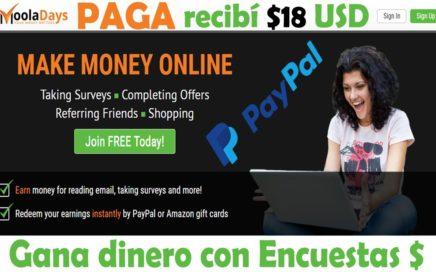 MoolaDays PAGA gana dinero con Encuestas, Leer Emails (Bonus de $ 3 USD)