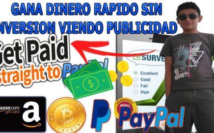 CÓMO GANAR DINERO GRATIS PARA PAYPAL SIN INVERSIÓN/ PAGO MÍNIMO $0,50 DÓLARES RAPIDO 2018