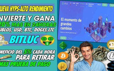 BITLUC| GANA DINERO A CORTO PLAZO INVIRTIENDO| GANA 120% MAS EN 24h + 5% POR HORA + PRUEBA DE PAGO