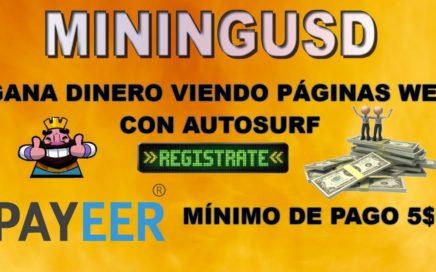 GANA DINERO CON TU NAVEGADOR SIN INVERSIÓN 2018: MININGUSD. MÍNIMO DE PAGO 5$ POR PAYEER