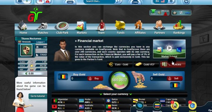 Tutorial GoalTycoon 6 - ¿Cómo usar el mercado financiero?   Gana dinero refiriendo a tus amigos