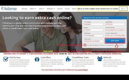 CLIXSENSE, Gana dinero gratis como registrarse y llenar nuestro perfil.